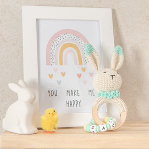 Personalised Crochet Easter Bunny Teething Ring - Mint