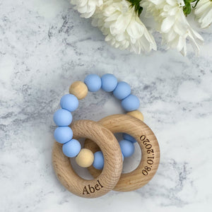 Personalised Engraved Teething Rings - Pastel Blue