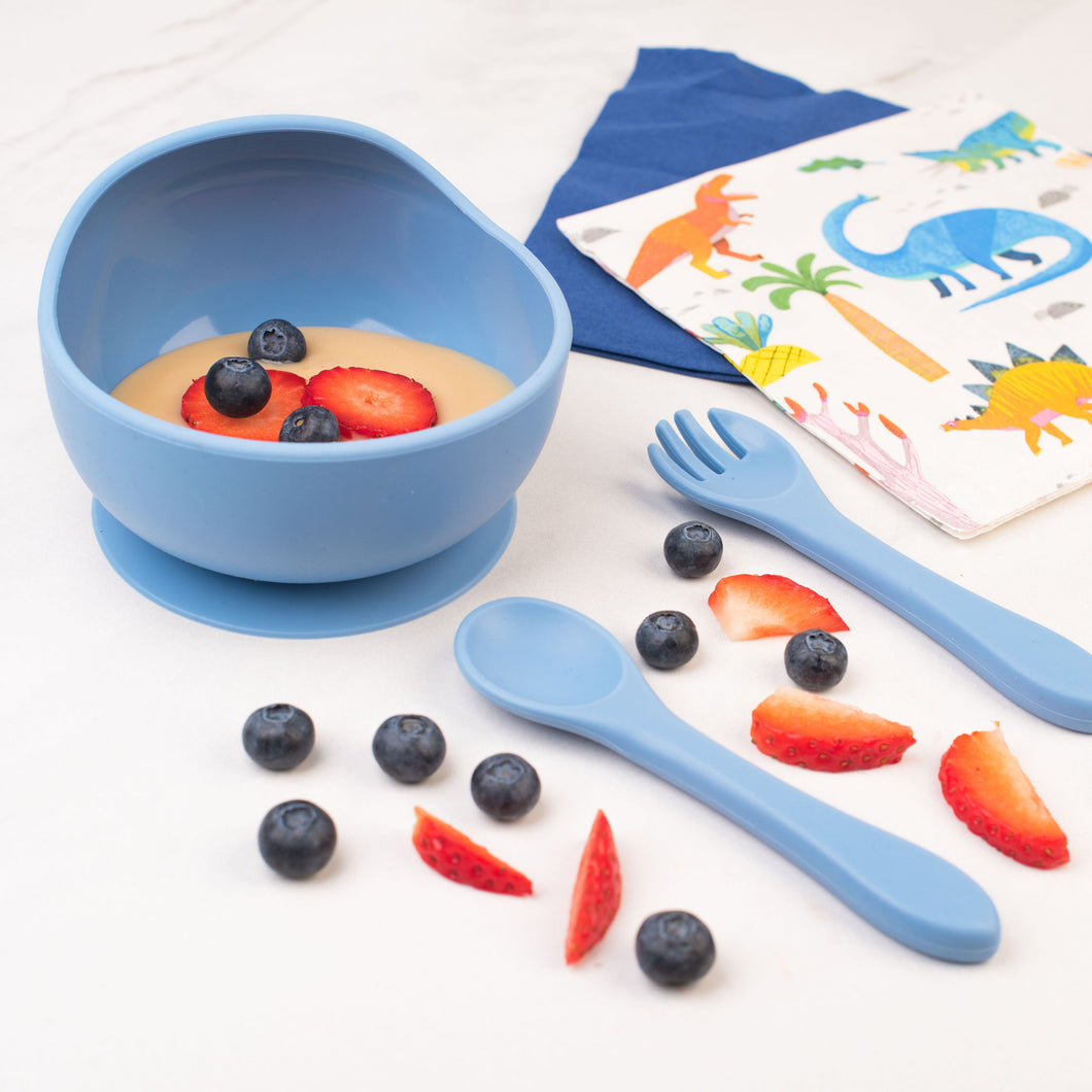 Silicone Weaning Bowl, Fork & Spoon Set - Azure Blue