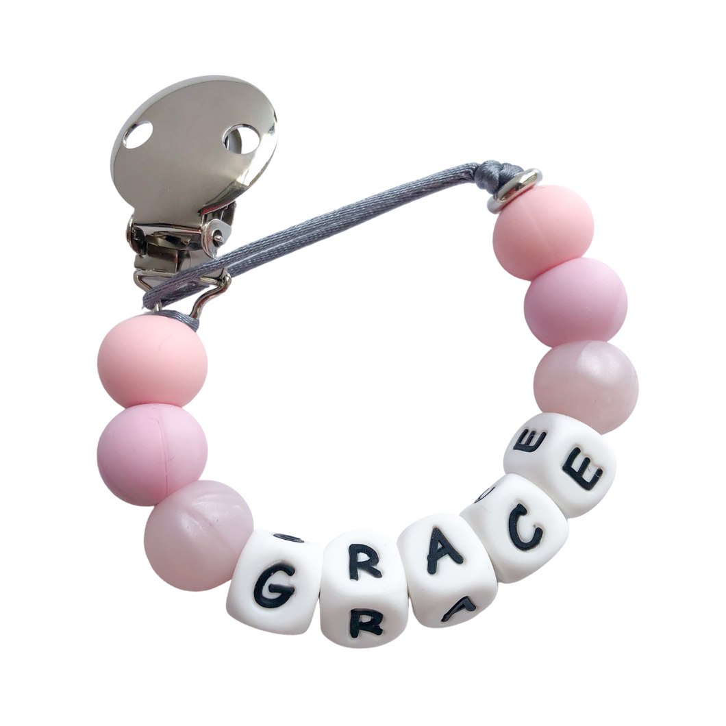 Personalised Metal Dummy Clip - Pink