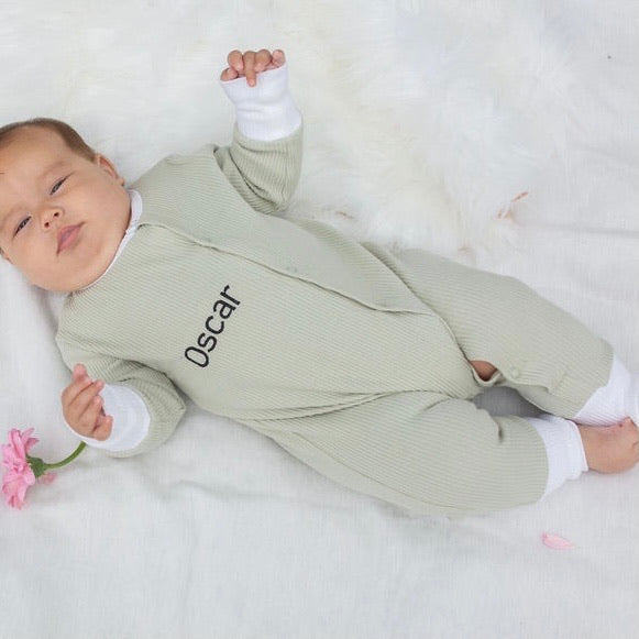 Load image into Gallery viewer, Long Sleeve Personalised Romper - Sage Green