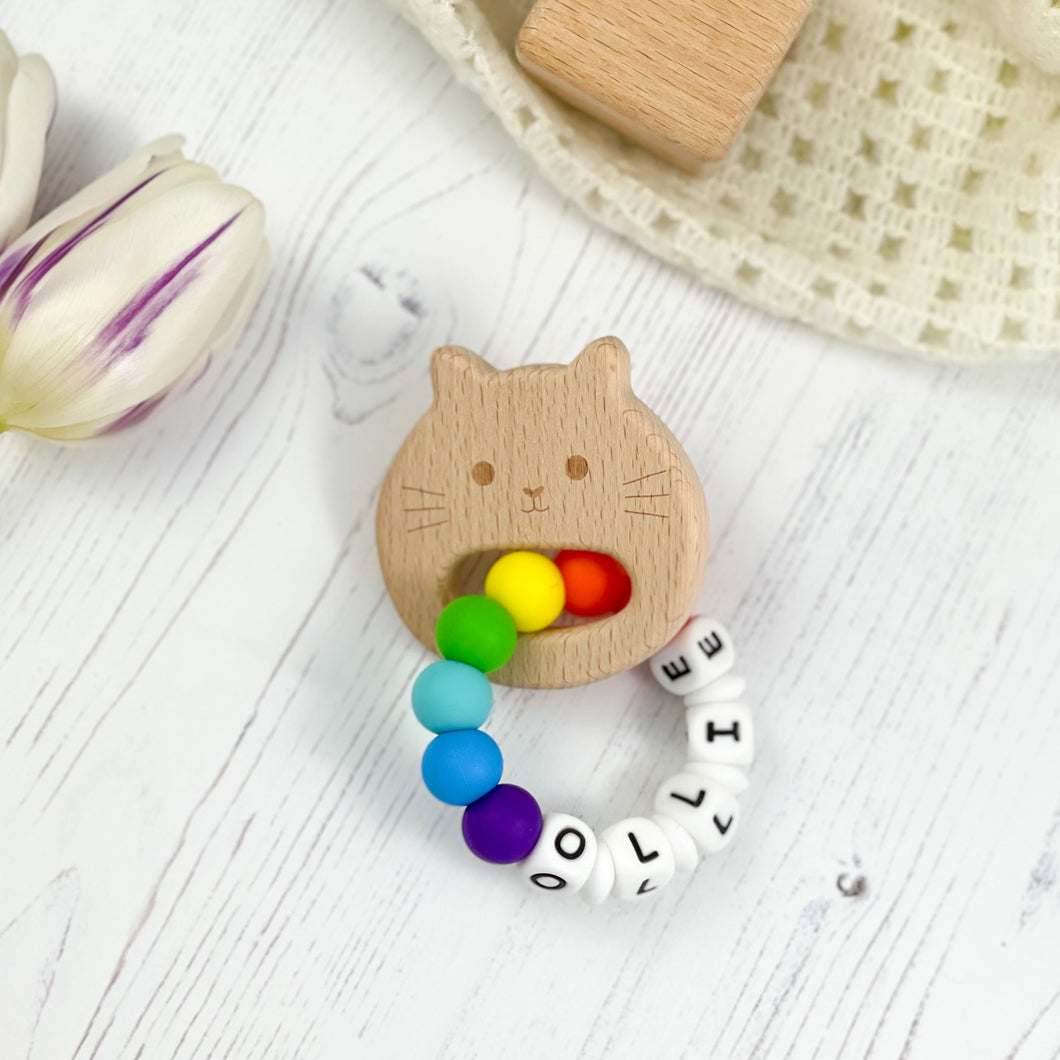 Personalised Teething Ring - Rainbow Cat