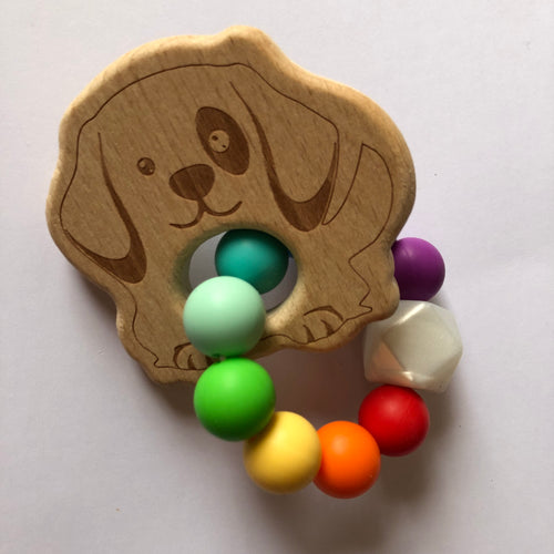 Handmade Wooden Teething Ring - Rainbow Dog-Teethers-Chewie Cat-Chewie Cat