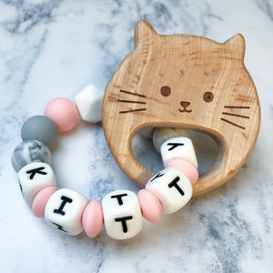 Personalised Teething Ring - Pink Cat-Teethers-Chewie Cat-Chewie Cat