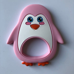 Penguin Silicone Teether - Pink-Teethers-Chewie Cat-Chewie Cat
