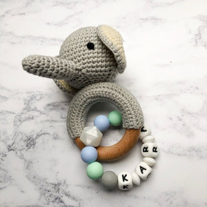 Personalised Crochet Elephant Teething Rattle-Chewie Cat-Chewie Cat