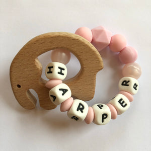 Personalised Teething Ring - Pink Elephant-Teethers-Chewie Cat-Chewie Cat