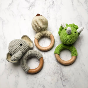 Crochet Elephant Teething Rattle-Chewie Cat-Chewie Cat