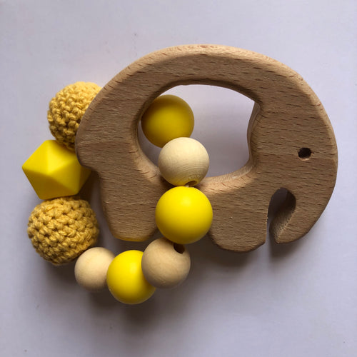 Handmade Wooden Teething Ring Yellow Elephant-Teethers-Chewie Cat-Chewie Cat