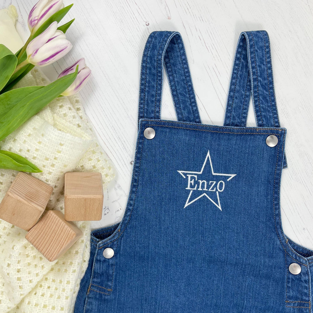 Personalised Denim Dungarees - Star Design
