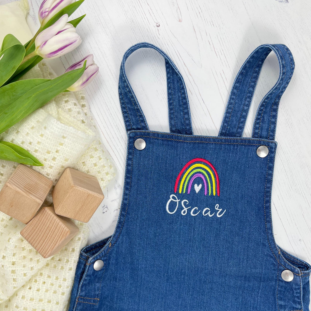 Personalised Denim Dungarees - Bright Rainbow Design