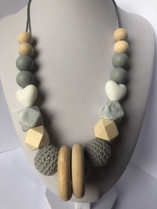 Kim Teething Necklace - Grey-Necklace-Chewie Cat-Chewie Cat