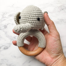 Load image into Gallery viewer, Crochet Elephant Teething Rattle-Chewie Cat-Chewie Cat