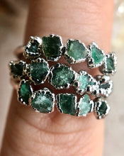 Load image into Gallery viewer, Love Emerald Stacking Ring (Rhodium)