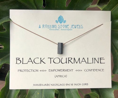 Black Tourmaline Cord Necklace