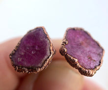 Load image into Gallery viewer, Raw Ruby Slice Studs // Copper