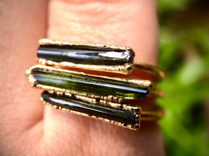 Tourmaline Bar Ring // Gold // Size 9
