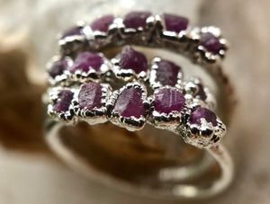 Noble Ruby Stackable Ring (Rhodium)