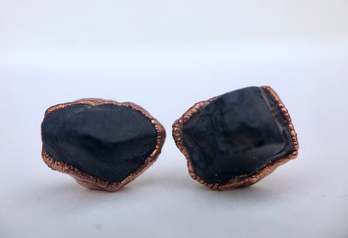Raw Black Spinel Studs // Copper