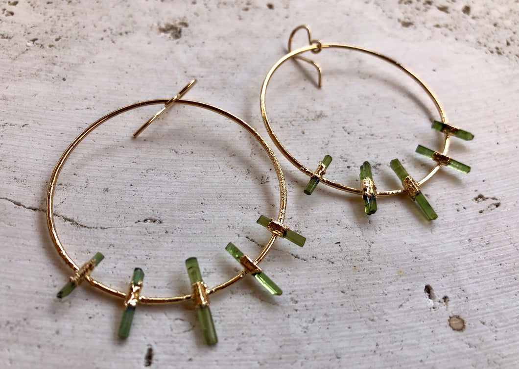 Tourmaline Hoops • Gold
