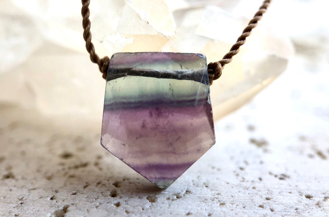 Fluorite Flag Cord Necklace