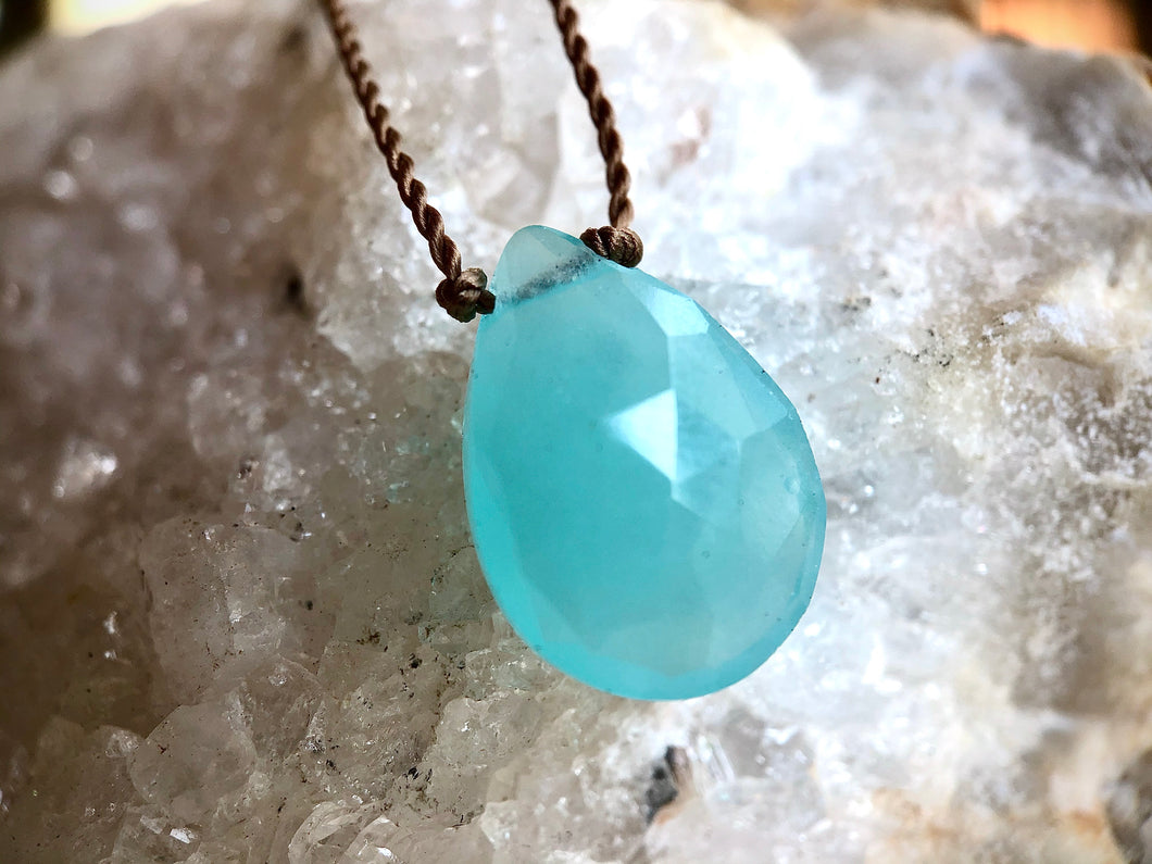 Costa Aqua Chalcedony Cord Necklace