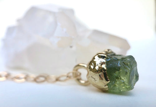 Peridot Drop Necklace // August