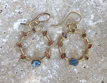 Load image into Gallery viewer, SOL EARRINGS WITH SAPPHIRE AND HERKIMER DIAMOND