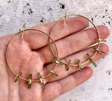 Load image into Gallery viewer, Tourmaline Hoops • Gold