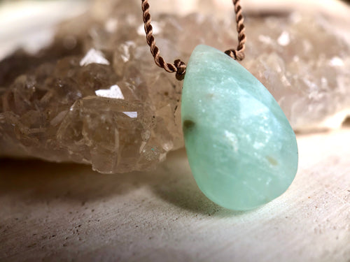 Amazonite Droplet Cord Necklace