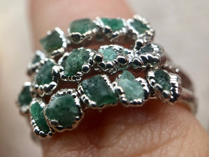 Love Emerald Stacking Ring (Rhodium)