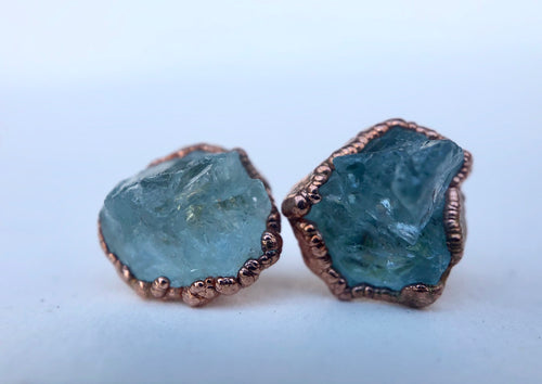 Raw Aquamarine Studs // Copper