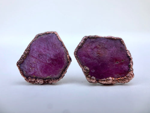 Raw Ruby Slice Studs // Copper