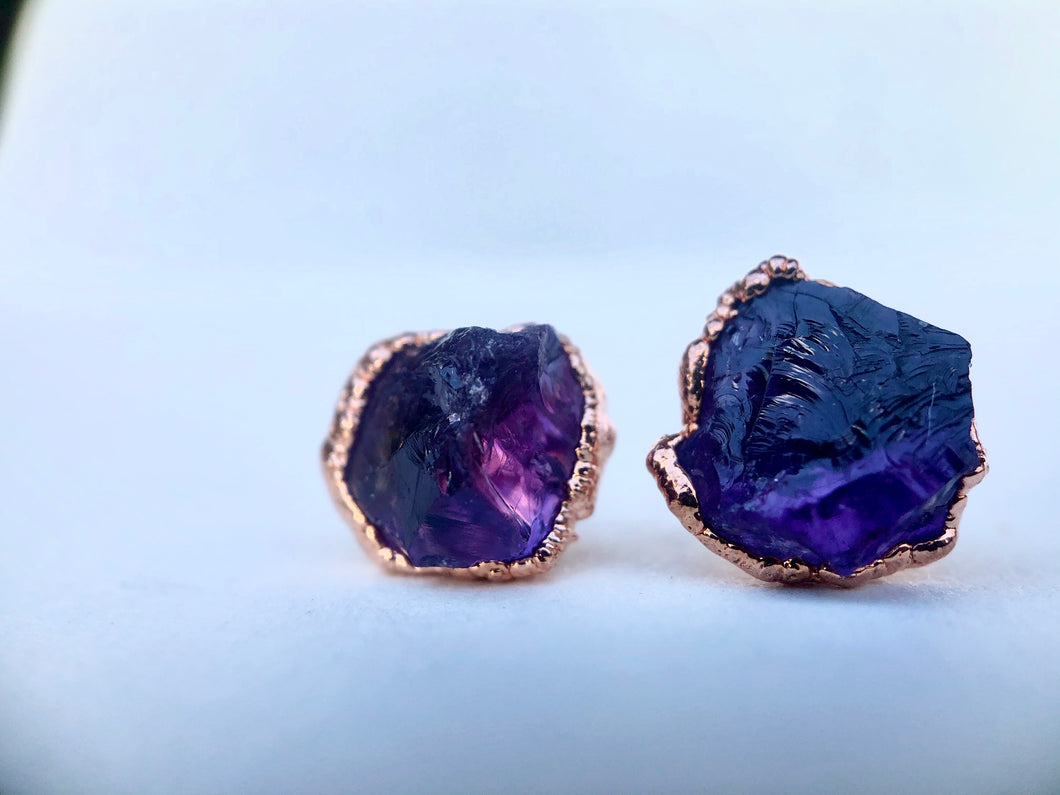 Raw Amethyst Studs // Copper