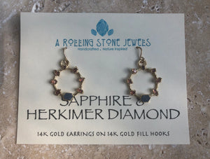SOL EARRINGS WITH SAPPHIRE AND HERKIMER DIAMOND