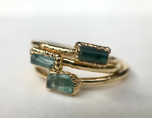 Blue Tourmaline Stacking Ring || October