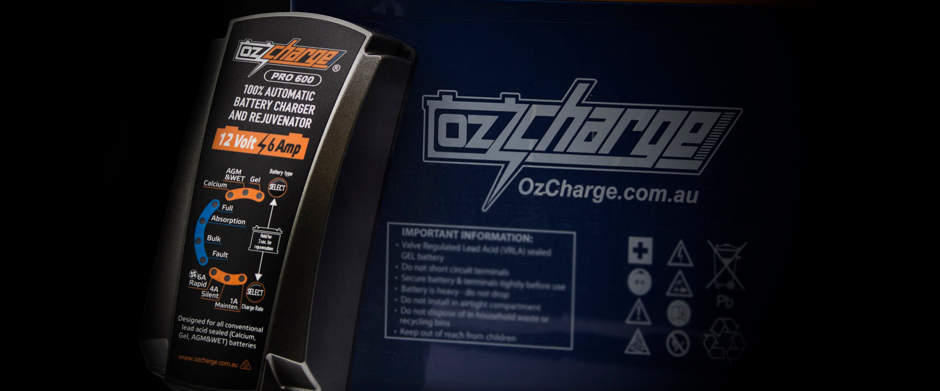 OzCharge Pro600 12 Volt 6Amp Smart Battery Charger and Maintainer