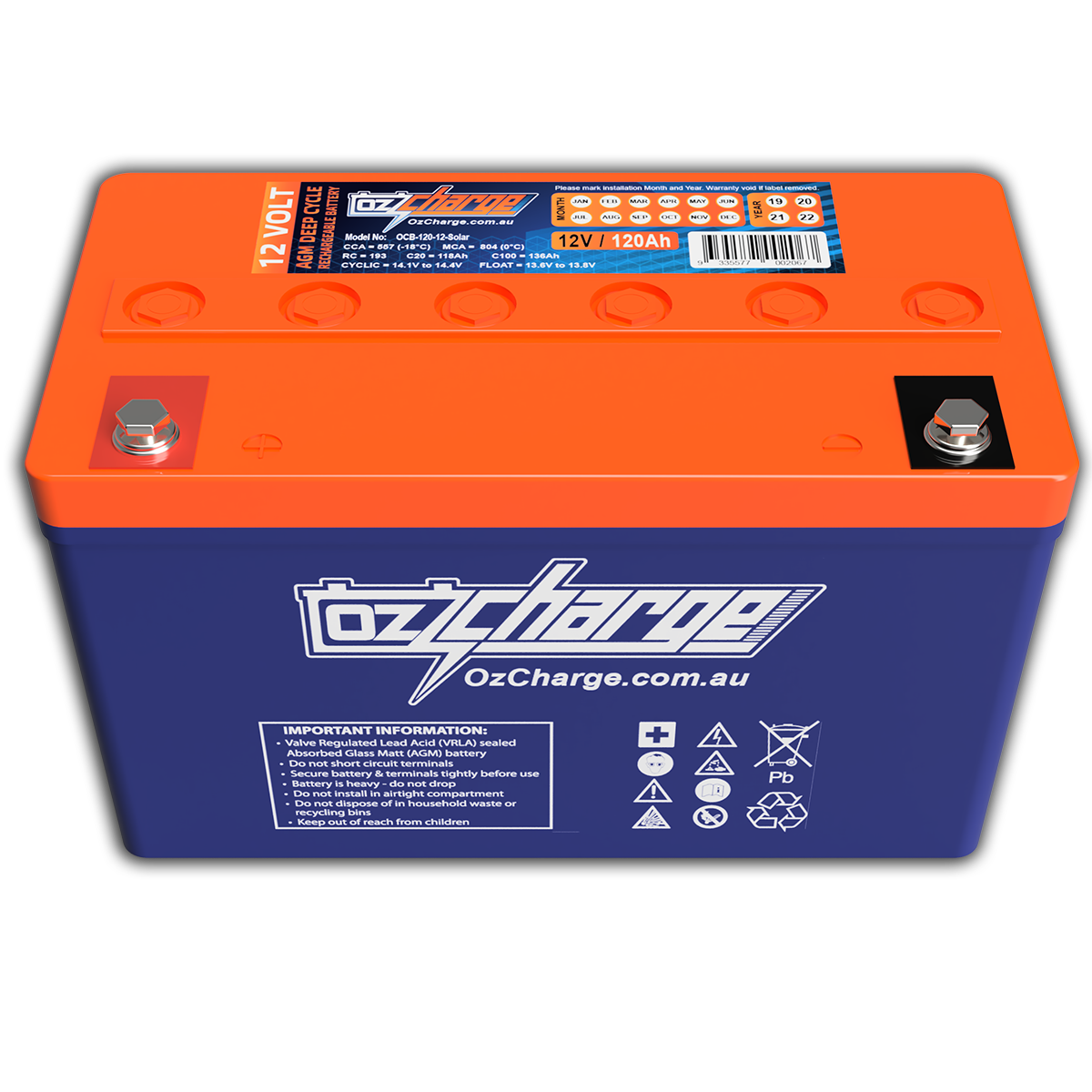 12V 120Ah AGM Deep-Cycle Battery