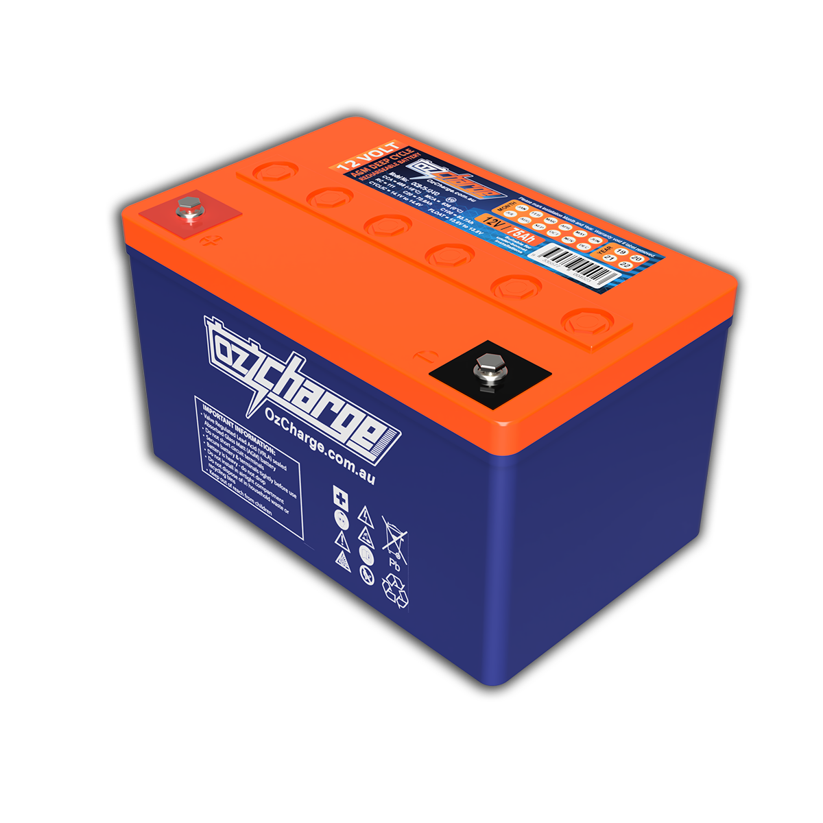 OCB-75-12-V0 AGM Deep Cycle Battery