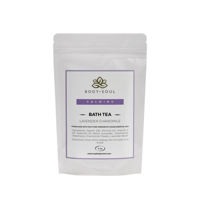 Lavender Chamomile bath tea with epsom salt essential oils and herbs for sore muscle cramps relaxation spa experience.