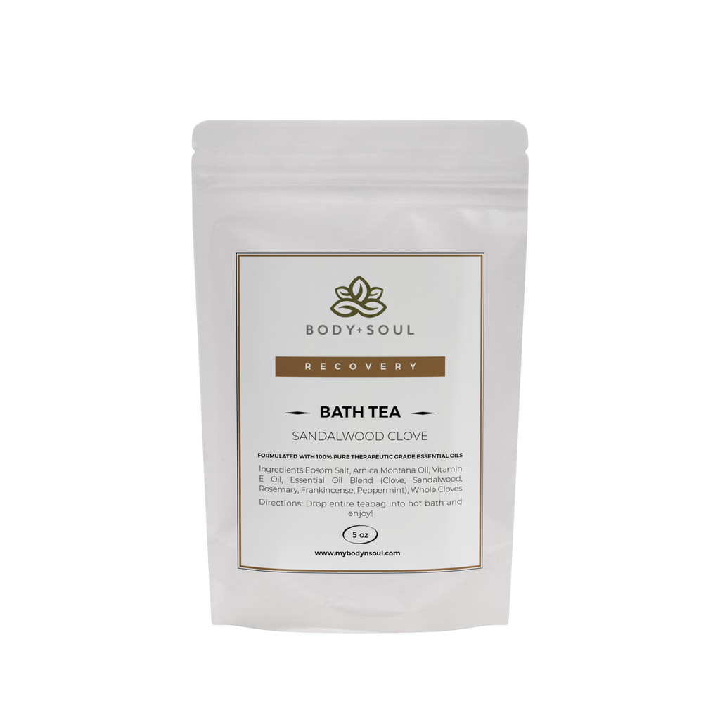 Sandalwood Clove with Arnica Montana bath tea with epsom salt essential oils and herbs for sore muscle, cramps, post workout or stress relaxation spa experience.