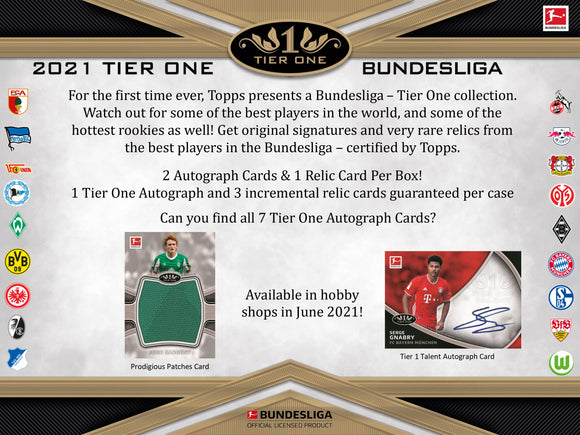 2021 Topps Tier One Bundesliga Soccer 12-Box Hobby Case