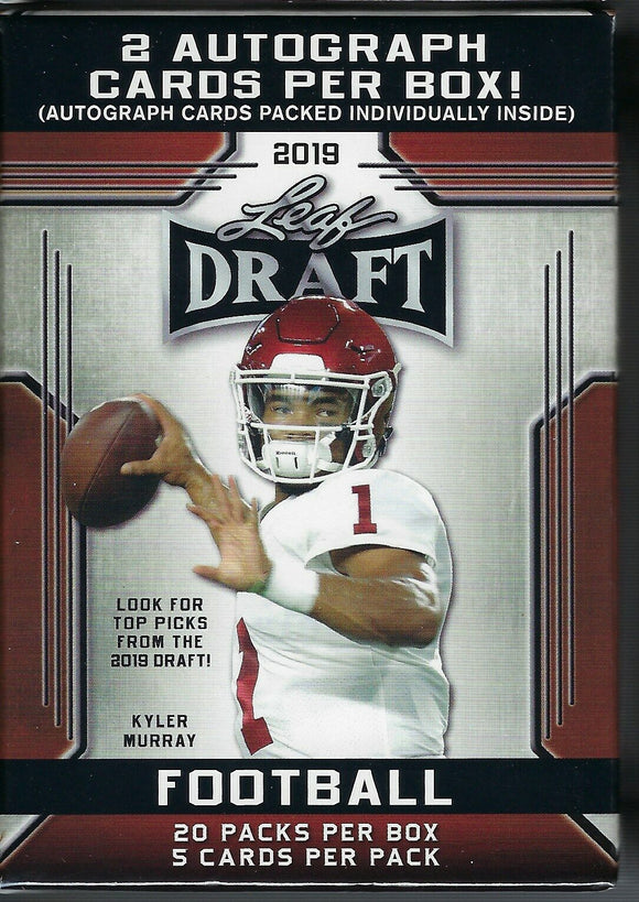 2019 Leaf Draft Football Blaster Box with 2 Autographs