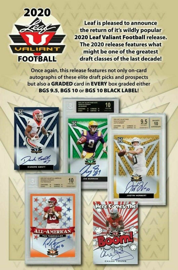 2020 Leaf Valiant Football Hobby Box
