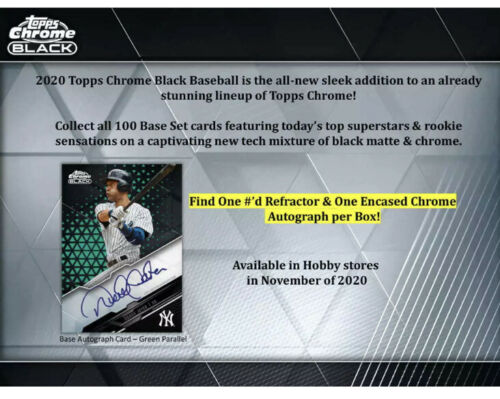 2020 Topps Chrome Black Baseball Hobby Box Pre Order*
