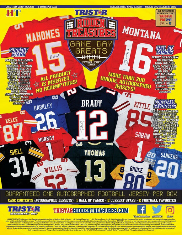 2020 Tri Star Hidden Treasures Football Game Day Greats Jersey Hobby Box