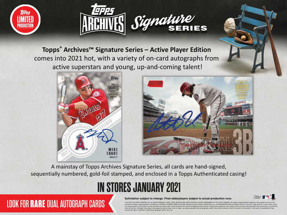 2021 Topps Archives Signature Series Active Edition Baseball Box
