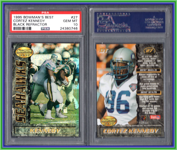 PSA 10 1995 Bowman's Best Refractors #V27 Cortez Kennedy Seattle Seahawks POP2 #11277