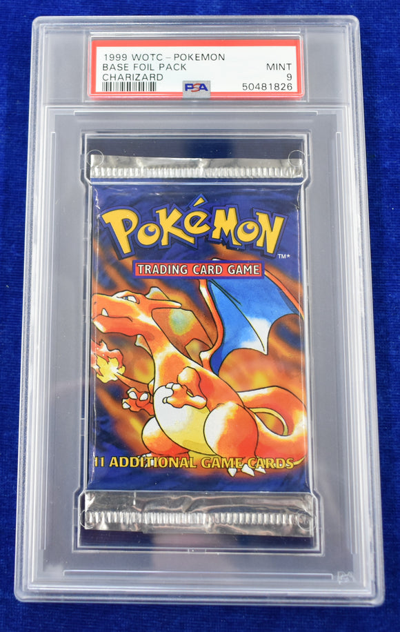 Pokemon PSA 9 1999 Base Set Booster Pack Unlimited Edition Charizard Artwork