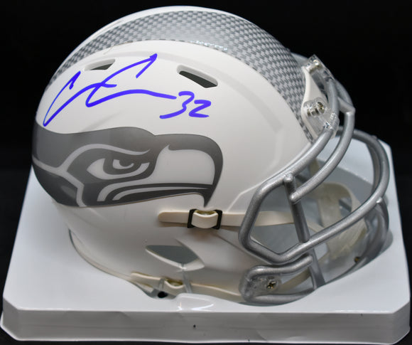 Chris Carson Signed Seahawks Ice White Mini Helmet JSA COA